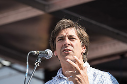 Mark Thomas, socialist columnist, author and comedian, People's Assembly demonstration against Austerity, London, 21st June 2014