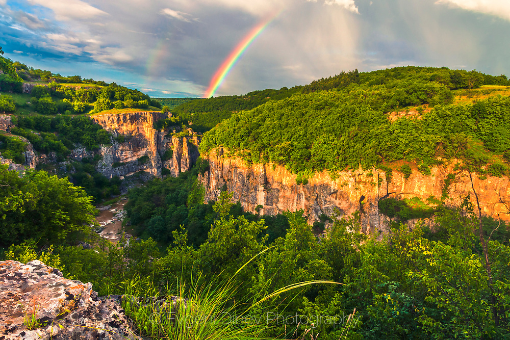 Canyon of Emen at spring with rainbow