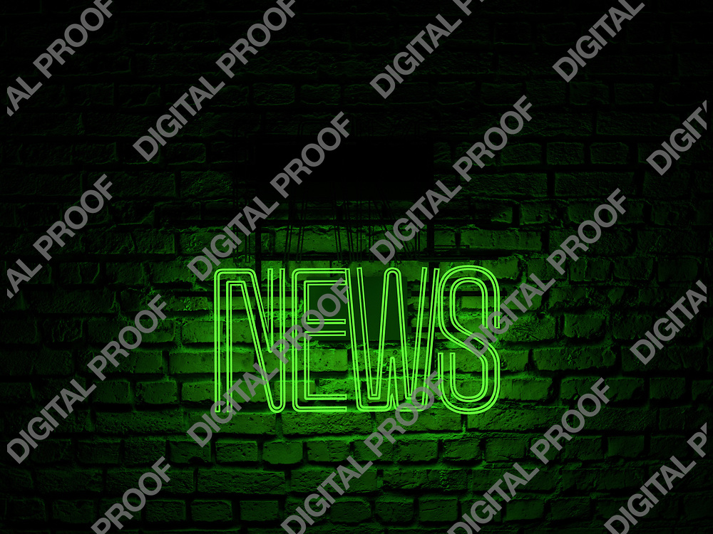 Fake News Neon Sign green color news on fake off over a red brick wall at dark - Illustration Computer Rendered - Illustration