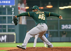 April 29, 2018 - Houston, TX, U.S. - HOUSTON, TX - APRIL 29:  Oakland Athletics relief pitcher Santiago Casilla (46) takes over the mound in the bottom of the eighth inning during the baseball game between the Oakland Athletics and Houston Astros on April 29, 2018 at Minute Maid Park in Houston, Texas.  (Photo by Leslie Plaza Johnson/Icon Sportswire) (Credit Image: © Leslie Plaza Johnson/Icon SMI via ZUMA Press)