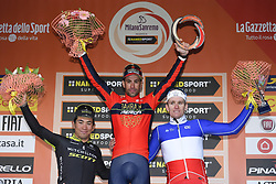March 17, 2018 - Milano, France - EWAN Caleb (AUS)  of Mitchelton - Scott, NIBALI Vincenzo (ITA)  of Bahrain - Merida, DEMARE Arnaud (FRA)  of FDJ during the UCI World Tour 109th Milan Sanremo cycling race with start in Milano and finish at the Via Roma in San Remo (291 kms) on March 17, 2018 in Milano, Italy (Credit Image: © Panoramic via ZUMA Press)