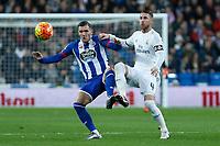 Real Madrid´s Sergio Ramos and Deportivo de la Coruna´s Lucas Perez during 2015/16 La Liga match between Real Madrid and Deportivo de la Coruna at Santiago Bernabeu stadium in Madrid, Spain. January 09, 2015. (ALTERPHOTOS/Victor Blanco)