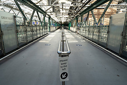 Edinburgh, Scotland, UK. 8 April 2020. Images from Edinburgh during the continuing Coronavirus lockdown. Pictured;  Waverley railway station is almost deserted. Iain Masterton/Alamy Live News.