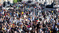 Black Lives Matter Protestors in Trafalgar Square after their march through london june 20th 2020  Photo by  Brian Jordan