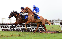 Advantage Point and Robert Colgan (right) jump the last to win the Cavan Developments Maiden Hurdle during BBA Ireland Opera Hat Mares Chase Day at Naas Racecourse.