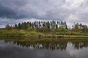 """Looking across the river Gauja over scarce group of pines in gray cloudy day,  Protected landscape area """"Ziemeļgauja"""", Latvia Ⓒ Davis Ulands 