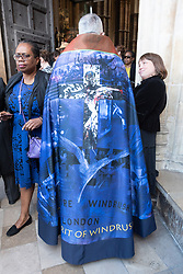 © Licensed to London News Pictures. 22/06/2018. London, UK. JOHN HALL The Dean of Westminster Abbey wears a cape featuring Windrush during a service a service of Thanksgiving at Westminster Abbey to mark the 70th Anniversary of the Landing of the Windrush. The MV Windrush ship docked at Tilbury in the Port of London on 22nd June 1948 and  was carrying 492 passengers from the port of Kingston in Jamaica. Photo credit: Ray Tang/LNP
