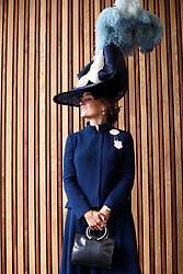 Edite Ligere from London wearing a Sarah Marshall Milliner for John Boyd Hats during day one of Royal Ascot at Ascot Racecourse.