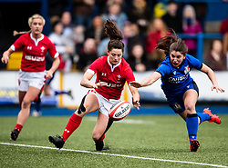 Robyn Wilkins of Wales attempts to prevent a score<br /> <br /> Photographer Simon King/Replay Images<br /> <br /> Six Nations Round 1 - Wales Women v Italy Women - Saturday 2nd February 2020 - Cardiff Arms Park - Cardiff<br /> <br /> World Copyright © Replay Images . All rights reserved. info@replayimages.co.uk - http://replayimages.co.uk