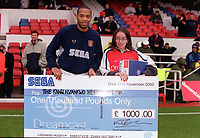 Thierry Henry  award for October 2000 before the match. Arsenal 0:0 Derby County. F.A. Premiership, 11/11/2000. Credit: Colorsport / Stuart MacFarlane.