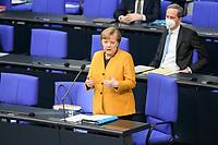 24 MAR 2021, BERLIN/GERMANY:<br /> Angela Merkel, CDU, Bundeskanzlerin, waehrend der Regierungsbefragung durch den Bundestag zur Bekaempfung der Corvid-19 Pandemie, Plenarsaal, Reichstagsgebaeude, Deutscher Bundestag<br /> IMAGE: 20210324-01-011<br /> KEYWORDS: Corona