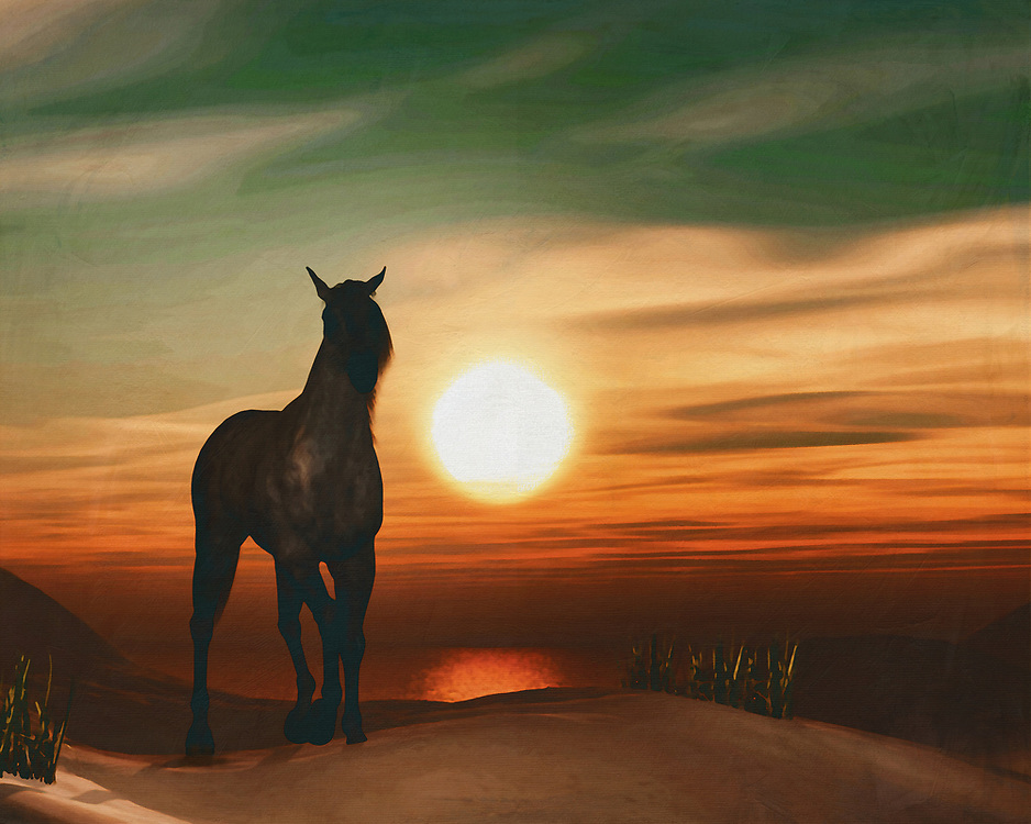 Horses in the sunset by the sea This painting easily brings the atmosphere of the sea to your home. This coastal scene can be printed in different sizes and on different materials. Both on canvas, wood, metal or framed so it certainly fits into your interior. –<br /> -<br /> BUY THIS PRINT AT<br /> <br /> FINE ART AMERICA / PIXELS<br /> ENGLISH<br /> https://janke.pixels.com/featured/horse-at-sunset-2-jan-keteleer.html<br /> <br /> <br /> WADM / OH MY PRINTS<br /> DUTCH / FRENCH / GERMAN<br /> https://www.werkaandemuur.nl/nl/shopwerk/Paard-bij-zonsondergang-2/778284/132?mediumId=15&size=70x55<br /> –<br /> -