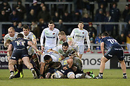 Saracens forwards give clean ball for Ben Spencer during the Aviva Premiership match between Sale Sharks and Saracens at the AJ Bell Stadium, Eccles, United Kingdom on 16 February 2018. Picture by George Franks.