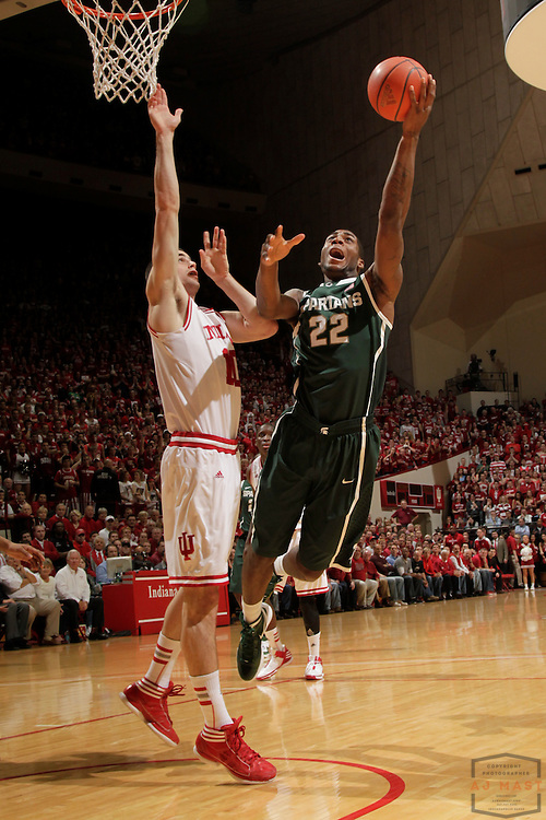 28 February 2012: Michigan State Spartans guard Branden Dawson (22) as the Indiana Hoosiers played the Michigan State Spartans in a college basketball game in Bloomington, Ind.