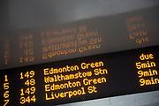 Bus timetable count down clock for Transport for London buses at a bus stop. This electronic information gives accurate timings for public transport services. London, UK.