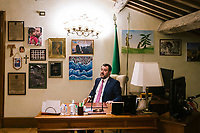 ROME, ITALY - 5 FEBRUARY 2020:  Senator Matteo Salvini, former Interior Minister of Italy and leader of the far-right League party, sits at his desk in his office iafter an interview n Rome, Italy, on February 5th 2020.