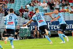 December 15, 2018 - Sydney, NSW, U.S. - SYDNEY, NSW - DECEMBER 15: Sydney FC midfielder Siem de Jong (22) celebrates his goal at the Hyundai A-League Round 8 soccer match between Western Sydney Wanderers FC and Sydney FC at ANZ Stadium in NSW, Australia on December 15, 2018. (Photo by Speed Media/Icon Sportswire) (Credit Image: © Speed Media/Icon SMI via ZUMA Press)
