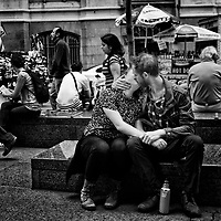 A bit of passion during lunchtime at Zuccotti Park in New York City.
