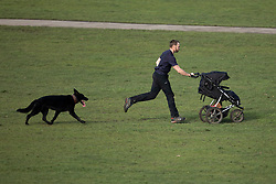 © Licensed to London News Pictures. 05/02/2021. London, UK. A man pushes a pram as he exercises with his dog in Greenwich Park in South East London. A national lockdown is in place in England to attempt to reduce the spread of a new strain of COVID-19 . Photo credit: George Cracknell Wright/LNP