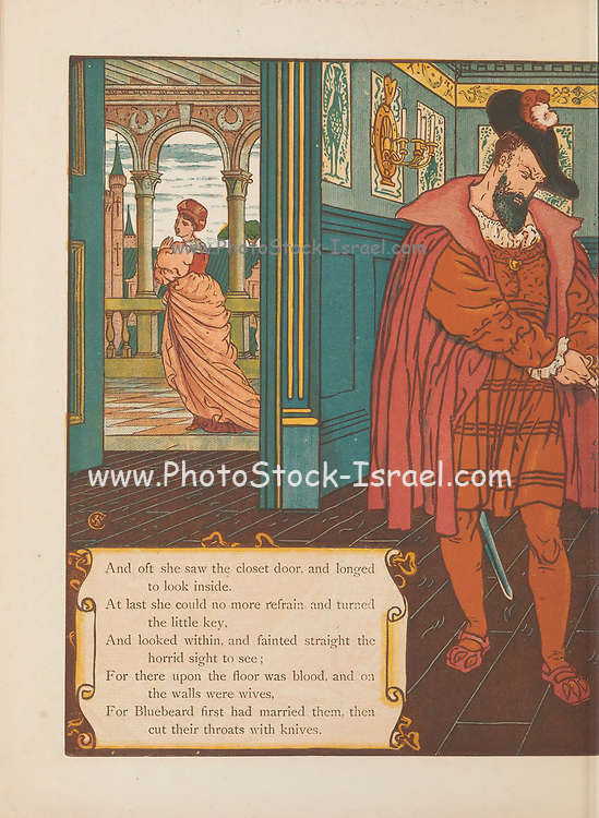 """Bluebeard by Walter Crane and Edmund Evans, Published in London & New York by George Routledge and Sons in 1873. """"Bluebeard"""" (French: Barbe bleue) is a French folktale, the most famous surviving version of which was written by Charles Perrault and first published by Barbin in Paris in 1697 in Histoires ou contes du temps passé. The tale tells the story of a wealthy man in the habit of murdering his wives and the attempts of one wife to avoid the fate of her predecessors. """"The White Dove"""", """"The Robber Bridegroom"""" and """"Fitcher's Bird"""" (also called """"Fowler's Fowl"""") are tales similar to """"Bluebeard"""". The notoriety of the tale is such that Merriam-Webster gives the word """"Bluebeard"""" the definition of """"a man who marries and kills one wife after another,"""" and the verb """"bluebearding"""" has even appeared as a way to describe the crime of either killing a series of women, or seducing and abandoning a series of"""
