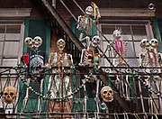 Home decorated with skeletons in the French Quarter during Mardi Gras on 25th February 2020 in New Orleans, Louisiana, United States. Mardi Gras is the biggest celebration the city of New Orleans hosts every year. The magnificent, costumed, beaded and feathered party is laced with tradition and  having a good time. Celebrations are concentrated for about two weeks before and culminate on Fat Tuesday the day before Ash Wednesday and Lent.