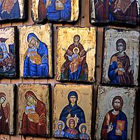 Europe, Greece, Rhodes. Greek religious icons.