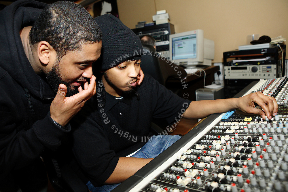 Iron Braydz, 26, (right) and his partner, Cataclysm, 27, (left) are working on their music in a studio in Angel, London, England, on Monday, Feb. 12, 2007. Islamic Hip Hop artists like the duo 'Blind Alphabetz', from London, feel more than ever the need to say what they think aloud. In the music industry the backlash of a disputable Western foreign policy towards Islamic countries and its people is strong. The number of artists in the European Union and the US taking this into consideration and addressing the current social and political problems within their lyrics is growing rapidly and fostering awareness for Muslim and others alike.