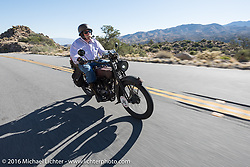 Jeff Erdman of Wisconsin riding his 1916 Harley-Davidson on the Palms to Pines Scenic Byway on the last day of the Motorcycle Cannonball Race of the Century. Stage-15 ride from Palm Desert, CA to Carlsbad, CA. USA. Sunday September 25, 2016. Photography ©2016 Michael Lichter.