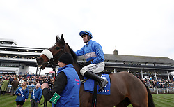 King's Odyssey and Adam Wedge before the Download The Coral App Handicap Chase during the Coral Welsh Grand National day at Chepstow Racecourse.