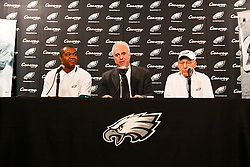 Former Philadelphia Eagles Player Randall Cunningham,  Current Owner Jeffrey Lurie, and former Player Al Wistert appear during a press conference announcing Cunningham and Wistert's induction into The Eagles Honor Roll before the NFL game between the Kansas City Chiefs and the Philadelphia Eagles on September 27th 2009. The Eagles won 34-14 at Lincoln Financial Field in Philadelphia, Pennsylvania. (Photo By Brian Garfinkel)