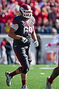 Oct 27, 2012; Little Rock, AR, USA; Arkansas Razorback offensive tackle David Hurd (69) during a game against the Ole Miss Rebels at War Memorial Stadium. Ole Miss defeated Arkansas 30-27. Mandatory Credit: Beth Hall-US PRESSWIRE