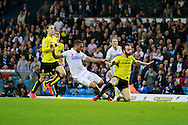 Leeds United's Kemar Roofe (7) has a shot during the EFL Sky Bet Championship match between Leeds United and Burton Albion at Elland Road, Leeds, England on 29 October 2016. Photo by Richard Holmes.