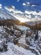 The Cline River Canyon with Sentinel Mountain in winter near Nordegg, Alberta, Canada