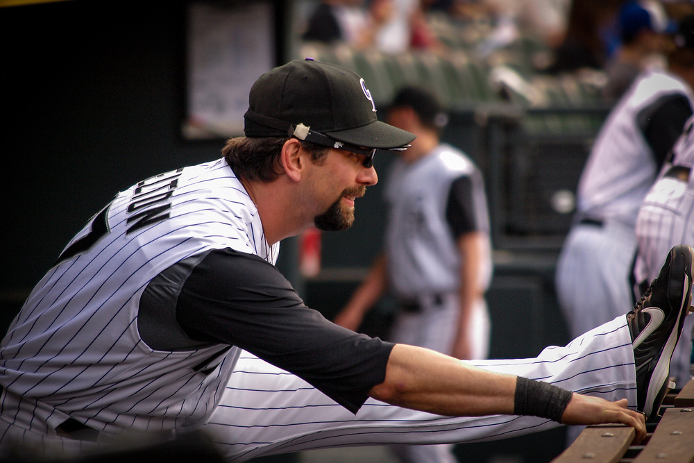 Colorado Rockies first baseman TODD HELTON #17 in pre-game stretch before defeating the San Francisco Giants 4-3 in MLB action.
