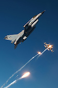 F-16s, Greece, pop flares