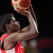 TOKYO, JAPAN August 8: Evelyn Mawuli #30 of Japan shoots during the Japan V USA basketball final for women at the Saitama Super Arena during the Tokyo 2020 Summer Olympic Games on August 8, 2021 in Tokyo, Japan. (Photo by Tim Clayton/Corbis via Getty Images)
