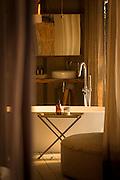 Bathroom detail at Chinzombo Safari Lodge, Luangwa River Valley, Zambia, Africa