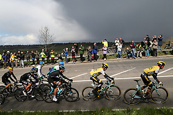 © Licensed to London News Pictures. 30/04/2016. Harewood, UK. The peloton makes it's way to the summit of the climb in Harewood near Leeds in West Yorkshire during the second stage of the 2016 Tour De Yorkshire. The three-day road cycling race held annually across Yorkshire is in it's second year. Photo credit : Ian Hinchliffe/LNP