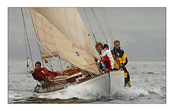 Mikado beating upwind on the first days racing heading towards the Tan...This the largest gathering of classic yachts designed by William Fife returned to their birth place on the Clyde to participate in the 2nd Fife Regatta. 22 Yachts from around the world participated in the event which honoured the skills of Yacht Designer Wm Fife, and his yard in Fairlie, Scotland...FAO Picture Desk..Marc Turner / PFM Pictures