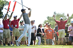 June 21, 2018 - Cromwell, CT, USA - Jordan Spieth hits his tee shot on the 11th hole during the first round of the Travelers Championship on Thursday, June 21, 2018 at TPC River Highlands in Cromwell, Conn. (Credit Image: © John Woike/TNS via ZUMA Wire)