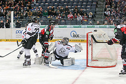 19.12.2014, Lanxess Arena, Koeln, GER, DEL, Koelner Haie vs Nuernberg Ice Tigers, 28. Runde, im Bild Andreas Jenike (Nuernberg Ice Tigers) greif daneben. Vor ihm Michael Iggulden (Koelner Haie) und Derek Joslin (Nuernberg Ice Tigers) // during Germans DEL Icehockey League 28th round match between Koelner Haie vs Nuernberg Ice Tigers at the Lanxess Arena in Koeln, Germany on 2014/12/19. EXPA Pictures © 2014, PhotoCredit: EXPA/ Eibner-Pressefoto/ Kohring<br /> <br /> *****ATTENTION - OUT of GER*****