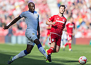 Leeds United FC defender Souleman Bamba   passes back to the goalkeeper during the Sky Bet Championship match between Middlesbrough and Leeds United at the Riverside Stadium, Middlesbrough, England on 27 September 2015. Photo by George Ledger.