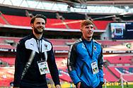 AFC Wimbledon midfielder Alfie Eagan (28) and AFC Wimbledon defender Callum Kennedy (23) walking onto pitch during the The FA Cup 3rd round match between Tottenham Hotspur and AFC Wimbledon at Wembley Stadium, London, England on 7 January 2018. Photo by Matthew Redman.