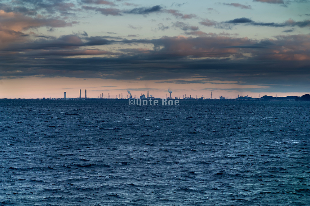 Chiba heavy industry seen from the Tokyo Bay inlet Japan