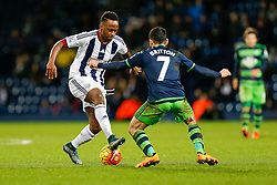 Saido Berahino of West Bromwich Albion is challenged by Leon Britton of Swansea City - Mandatory byline: Rogan Thomson/JMP - 02/02/2016 - FOOTBALL - The Hawthornes - West Bromwich, England - West Bromwich Albion v Swansea City - Barclays Premier League.