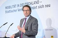"""18 FEB 2020, BERLIN/GERMANY:<br /> Andreas Scheuer, CSU, Bundesverkehrsminister, F.A.Z. Konferenz """"Mobilitaet in Deutschland - Staedtischer Verkehr erfindet sich neu"""", F.A.Z.-Atrium Berlin<br /> IMAGE: 20200218-01-096<br /> KEYWORDS: Frankfurter Allgemiene Zeitung, Mobilität, FAZ"""