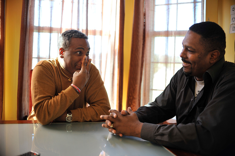 photo by Matt Roth.Thursday, October 11, 2012..McDaniel College Music teacher Eric Byrd, and accomplished jazz musician, photographed in his Westminster home, recently did a podcast with his lifelong friend and fellow Western Maryland/McDaniel College Alum Mel Brennan, director of two Baltimore City YMCA's, about fatherhood and what it means to raise strong, self-confident successful sons in uncertain times. Both men live in Westminster.