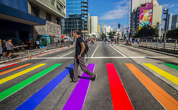 June 18, 2017 - Sao Paulo, Brazil - Revellers take part in the 21st SP LGBT pride parade at Paulista Avenue inSão Paulo, Brazil, on Juner 18, 2017. (Credit Image: © Cris Faga/NurPhoto via ZUMA Press)