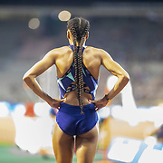 BRUSSELS, BELGIUM:  September 3:   Nafissatou Thiam of Belgium during high jump competition for women at the Wanda Diamond League 2021 Memorial Van Damme Athletics competition at King Baudouin Stadium on September 3, 2021 in  Brussels, Belgium. (Photo by Tim Clayton/Corbis via Getty Images)
