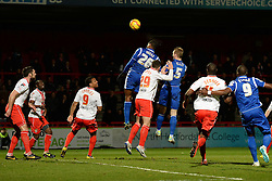 Crewe Alexandra's Chuks Aneke heads the ball - Photo mandatory by-line: Mitchell Gunn/JMP - Tel: Mobile: 07966 386802 22/02/2014 - SPORT - FOOTBALL - Broadhall Way - Stevenage - Stevenage v Crewe Alexandra - League One